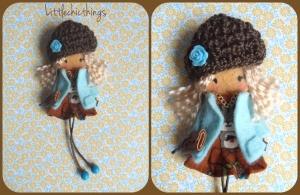muñeca broche fieltro gorro lana littlechicthings